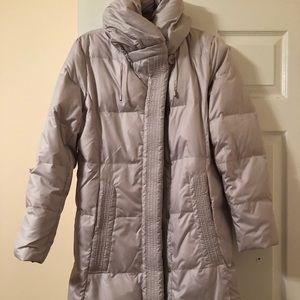 Grayish White Light Puffy Warm Coat